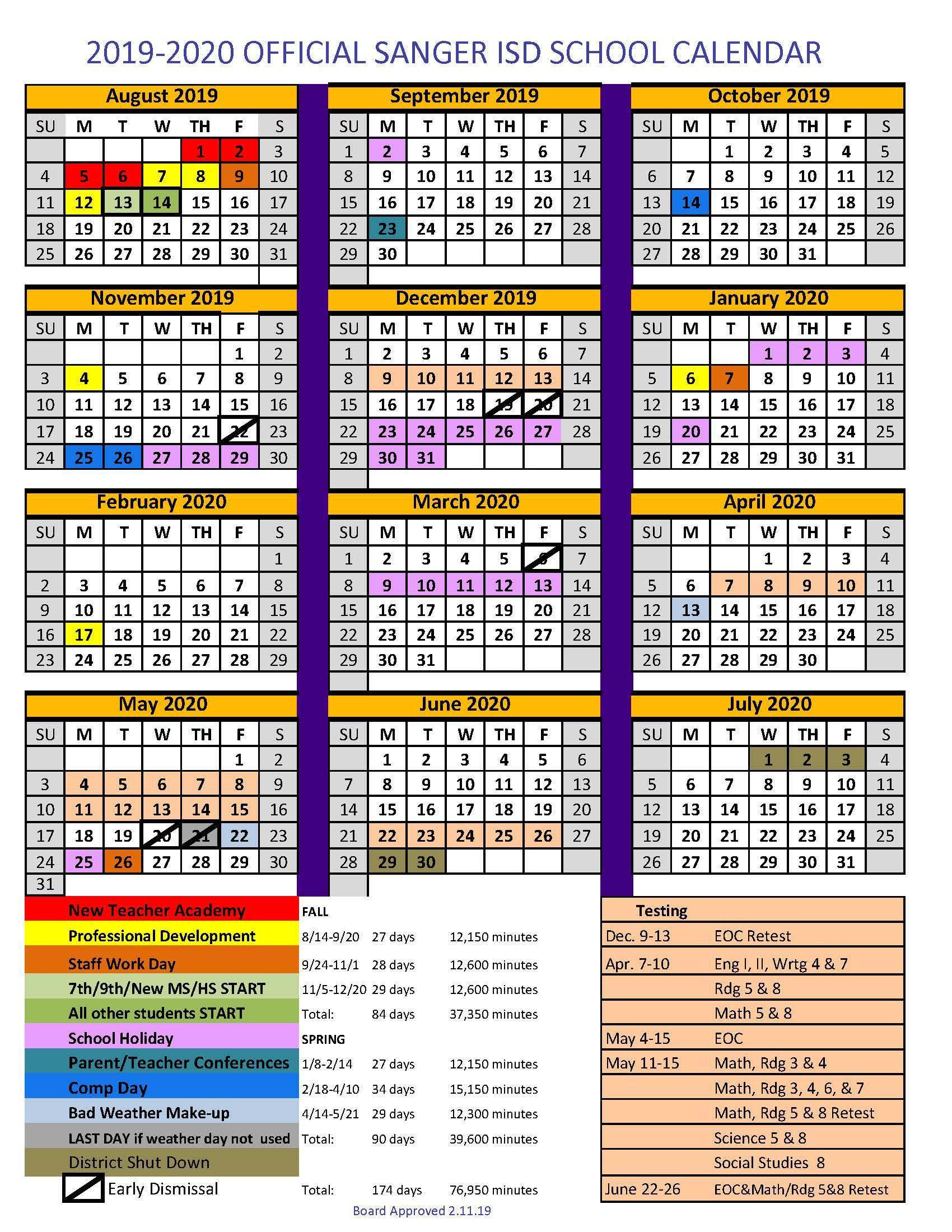 Unt Calendar 2020 Sanger Independent School District