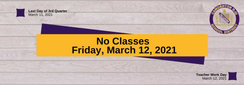No School - Friday, March 12, 2021 Featured Photo