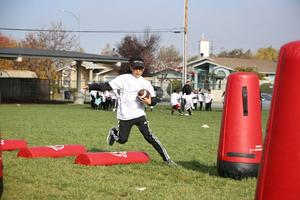 Student runs the obstacle course.