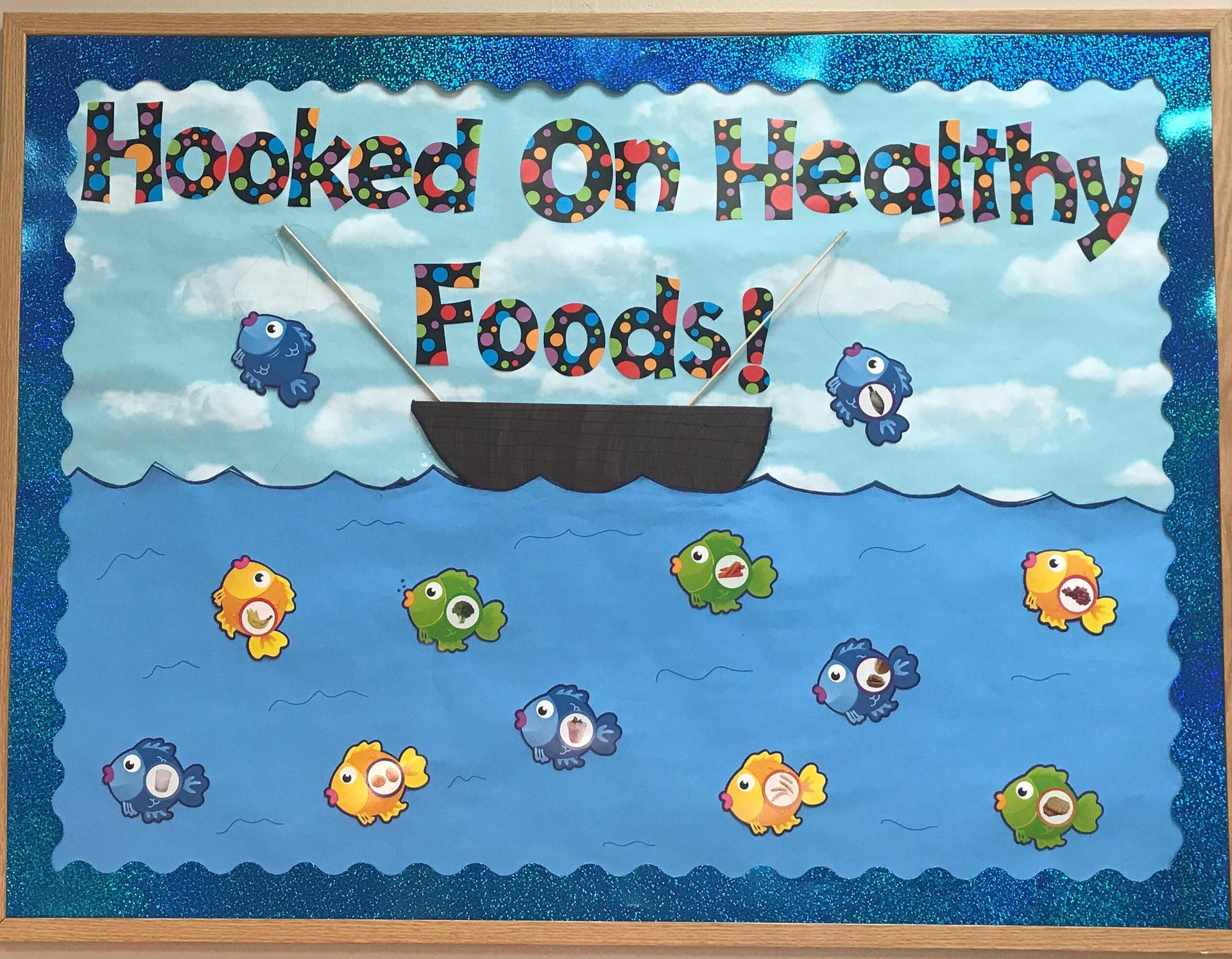 Hooked of Foods bulletin board at Randolph Elementary