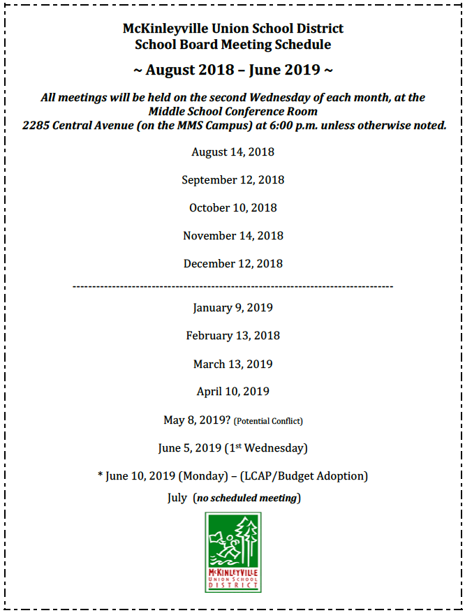 Board Meeting Schedule for 2018-2019