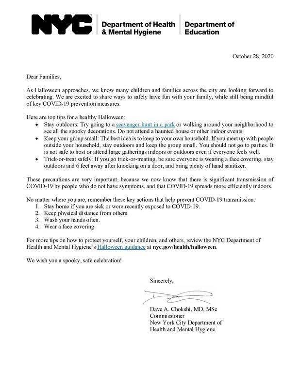Family Letter Heathy Halloween 10-28-20
