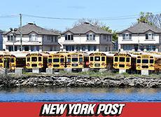 NY Post Image of School buses parked at their depot