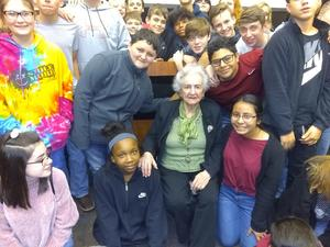 students with holocaust survivor
