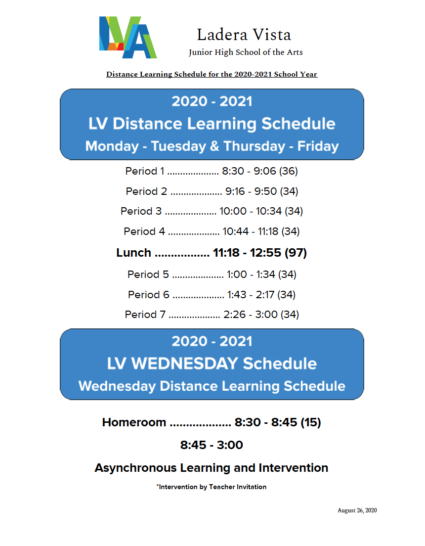 LV Distance Learning Schedule