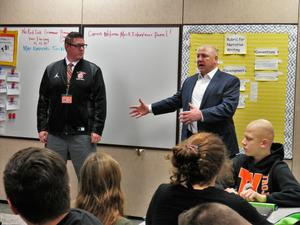 TKHS Principal Tony Petersen and TK Superintendent Rob Blitchok give interview pointers to seventh-graders.li