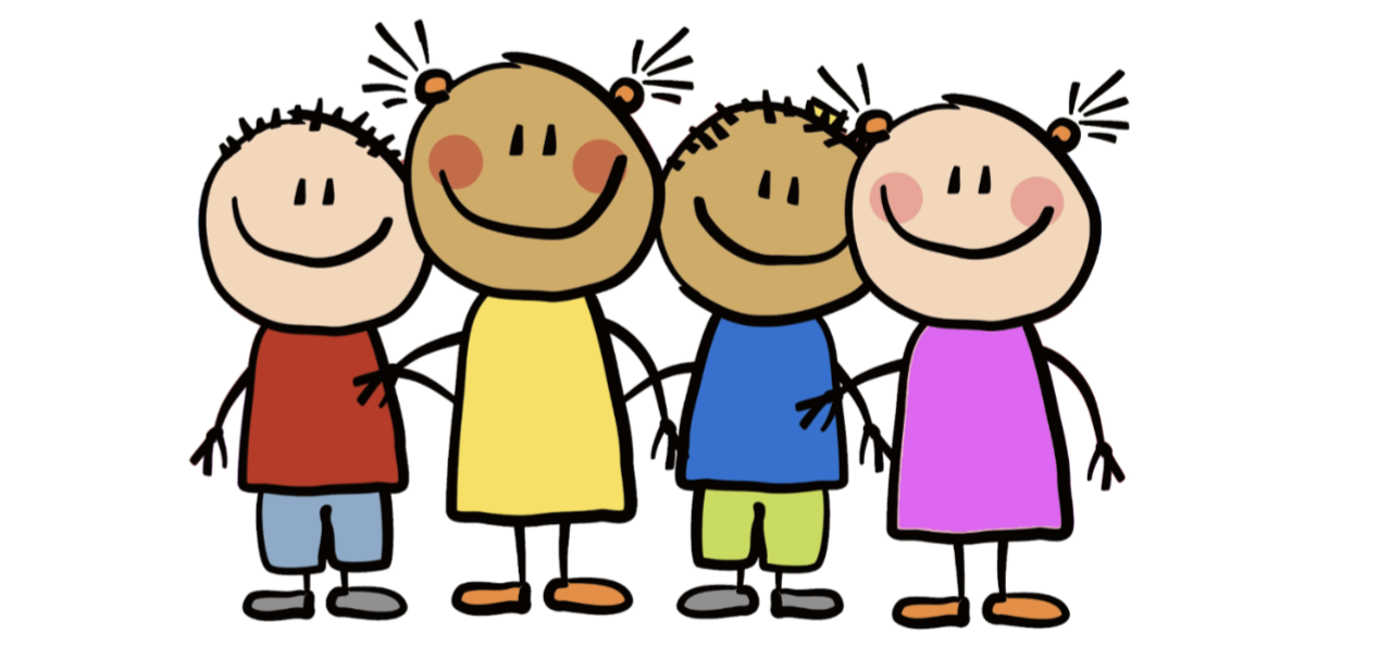 Cartoon image of four young children with smiling faces.