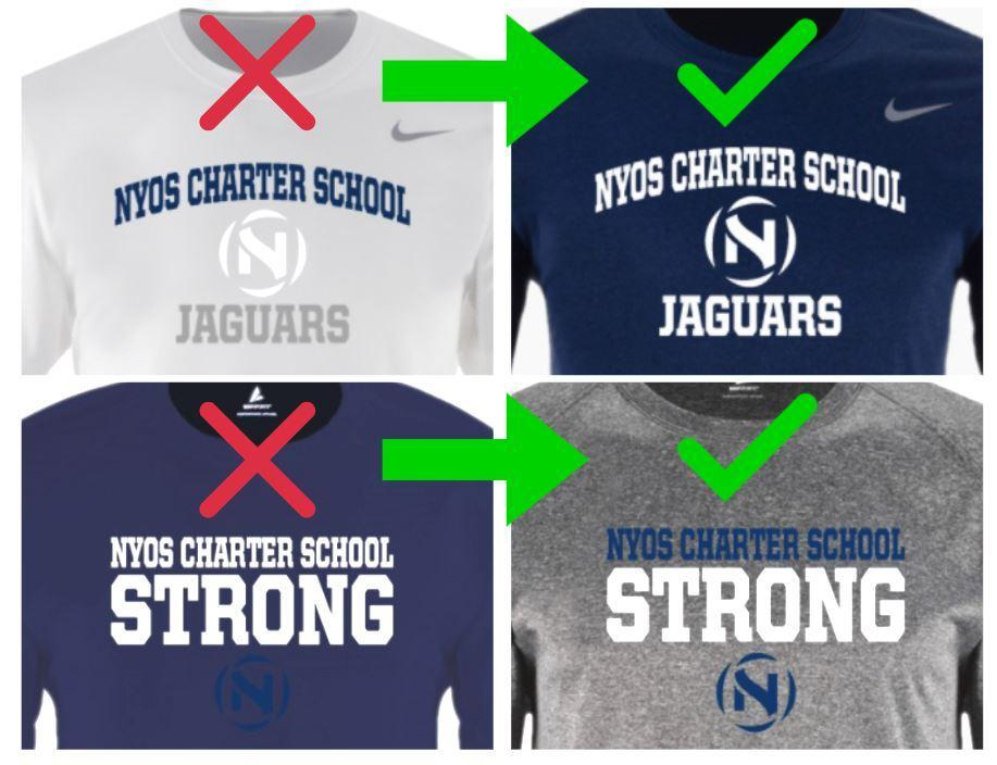 Images that show not to pick a white logo to put on a white shirt or a navy blue logo to put on a navy blue shirt