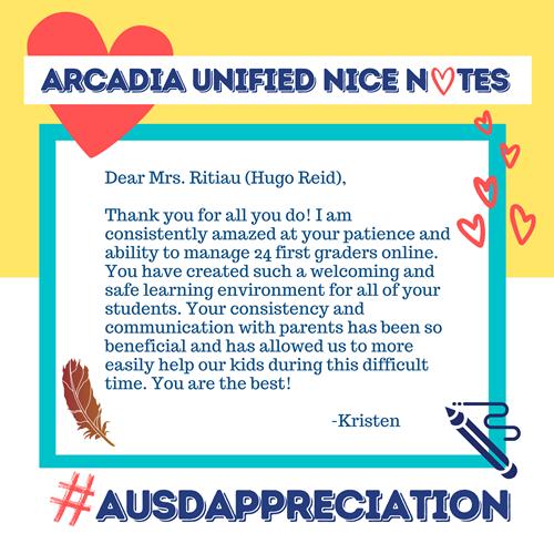 Nice note from Kristen to Mrs. Ritiau of Hugo Reid