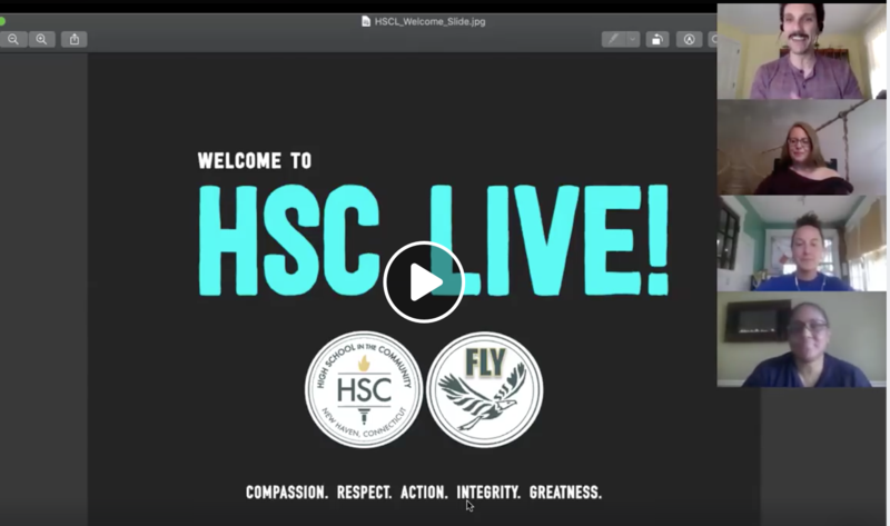 Screenshot of HSC live slide and people on a zoom chat