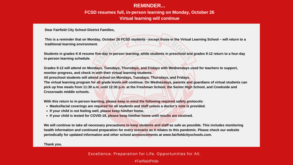 Image of the announcement that FCSD returns to full, in-person learning on October 26. Virtual learning will continue.