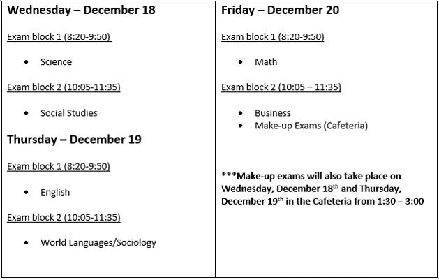 Dec 2019 Mid-Term Schedule