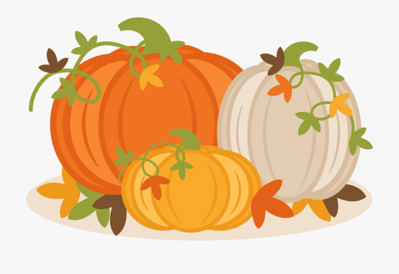 Cartoon picture of 3 pumpkins surrounded by leaves