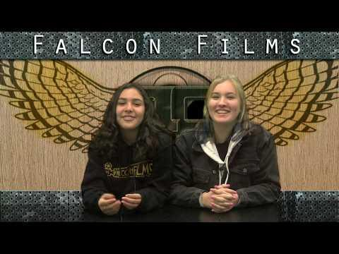 This is a screenshot of 2 Falcon Films anchors reading the morning announcements.