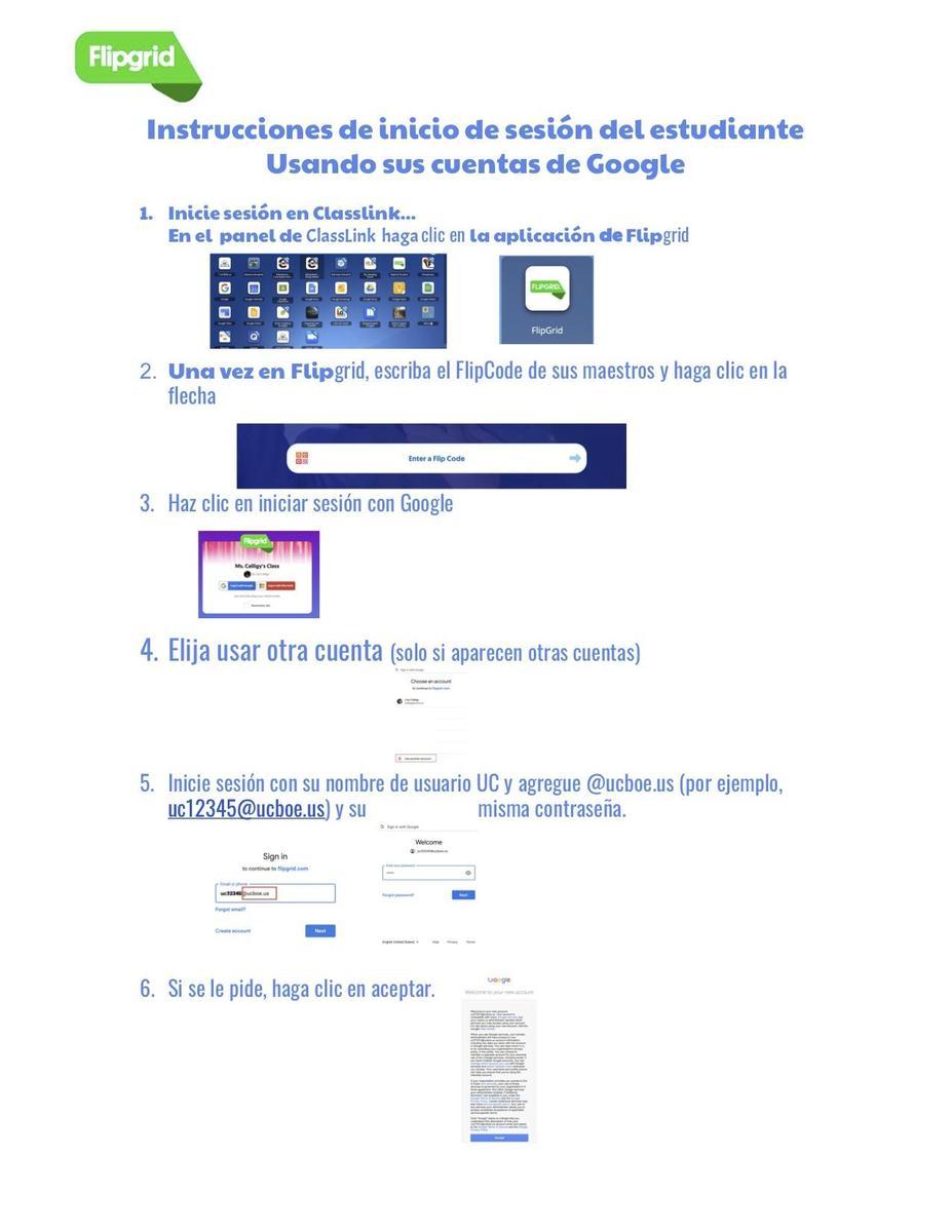 spanish fliggrid google instructions and link