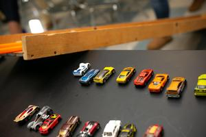 Hot wheels cars in Xavier High School physics class.