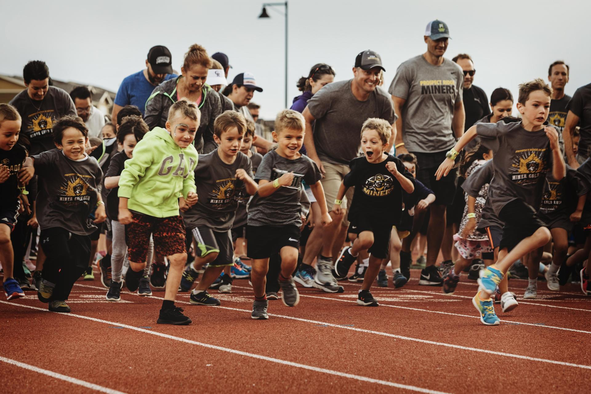Child runners on a track