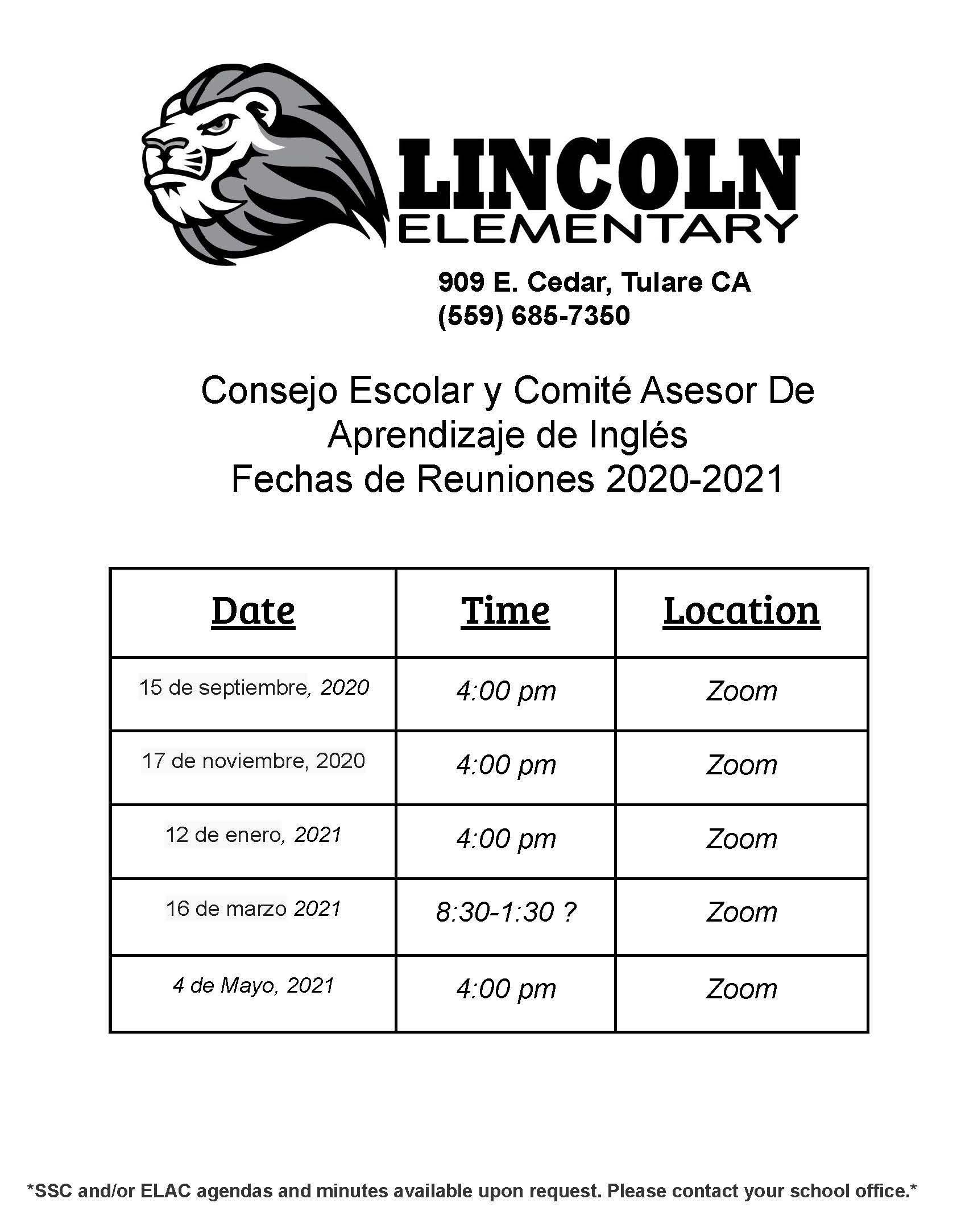 SSC/ELAC fechas de reuniones 20/21