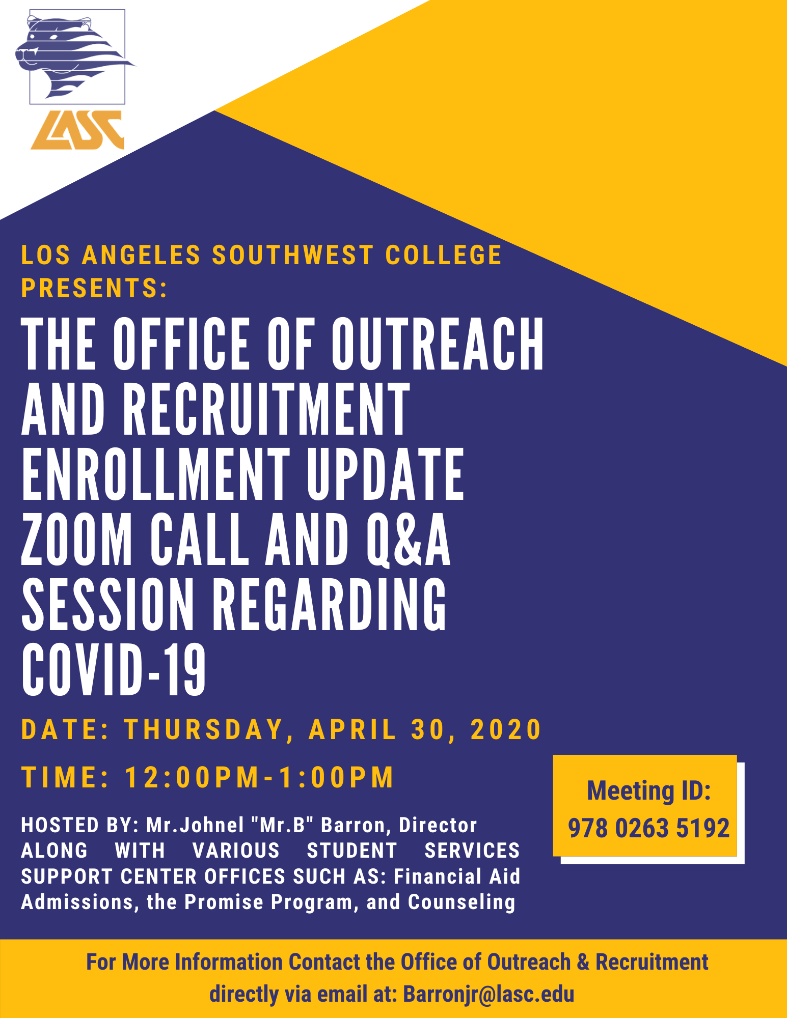L.A. Southwest College Recruitment Flyer