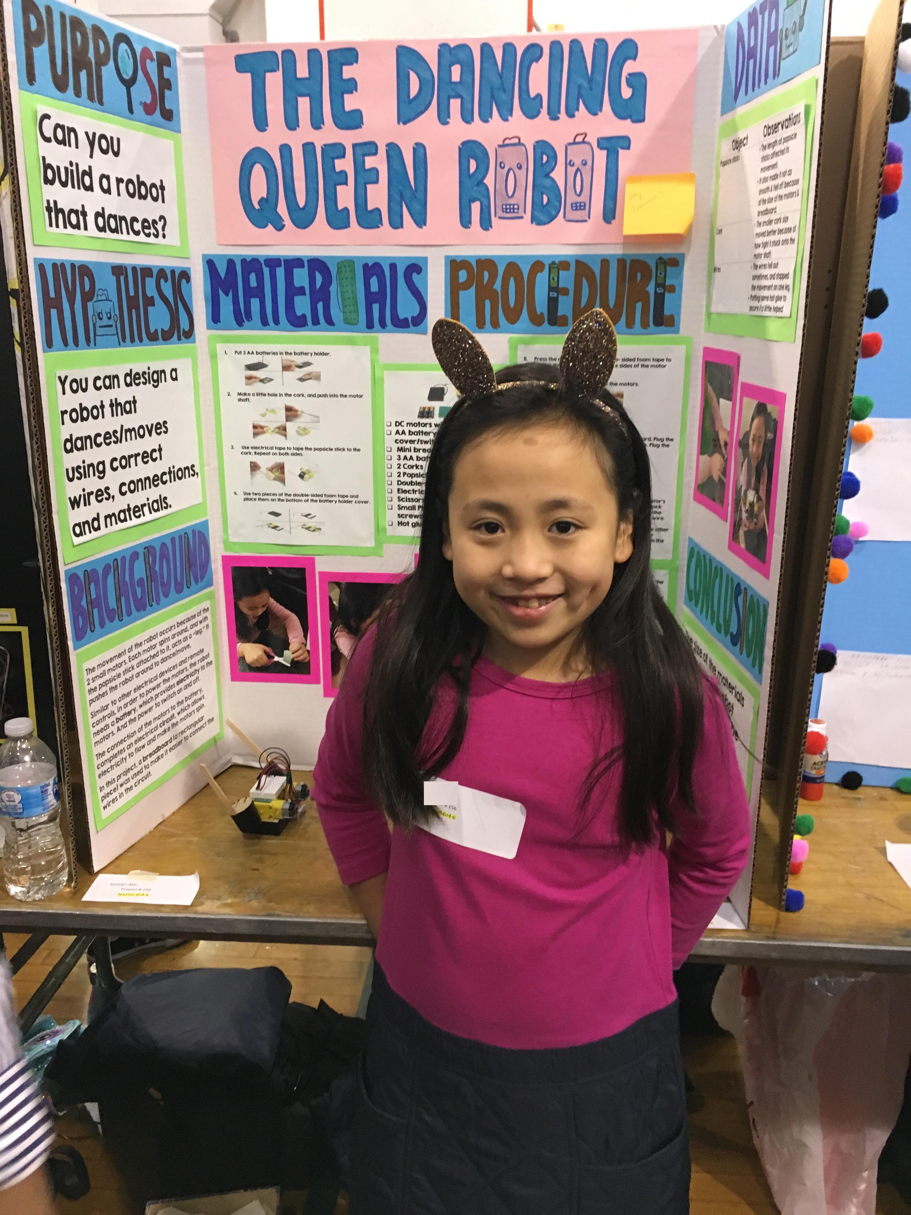 jefferson female student with her dancing queen robot research