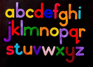 Letters of the alphabet in color.