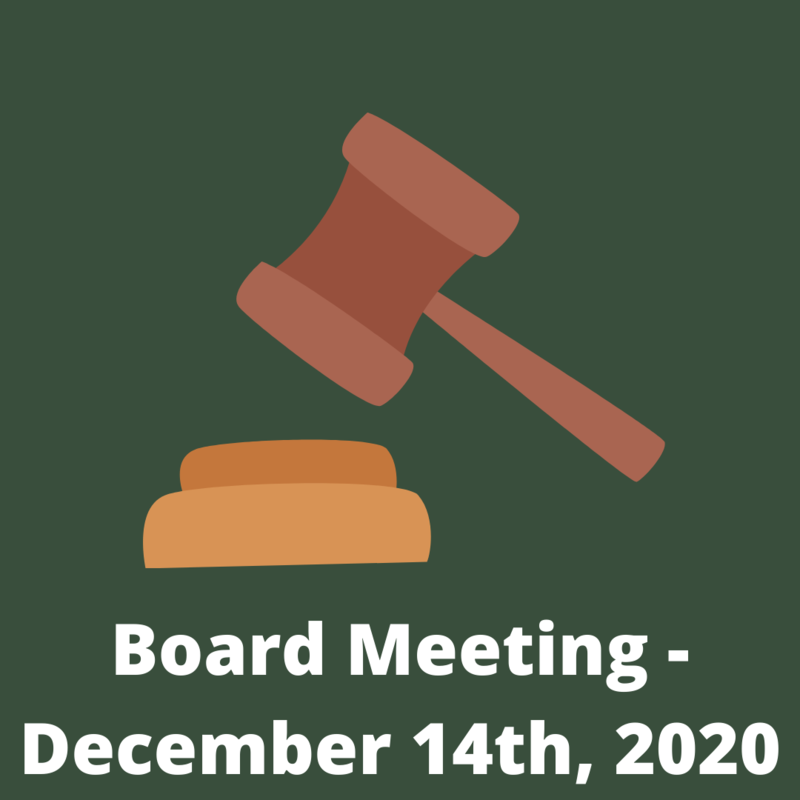 Green background with brown gavel and text - board meeting december 14th 2020