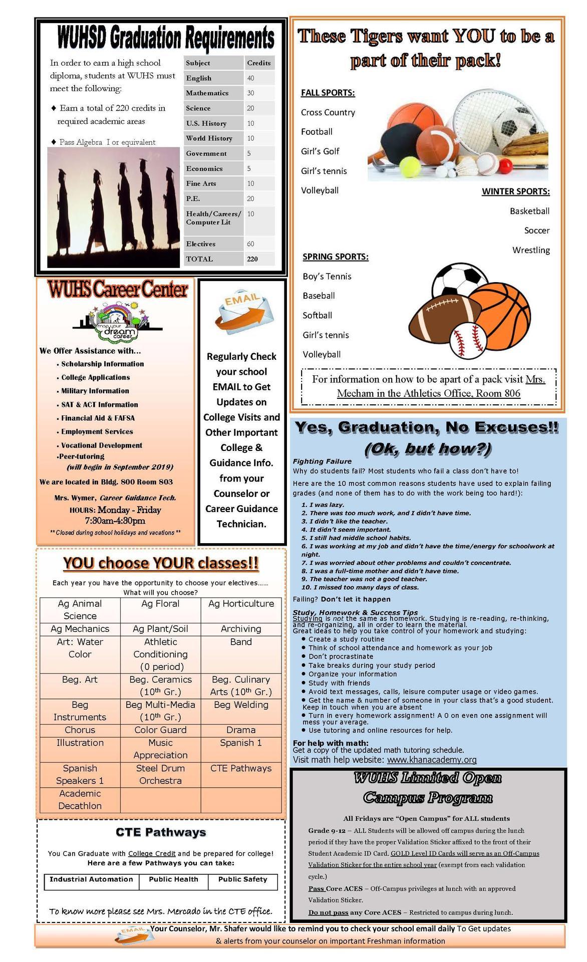 Freshman Newsletter Page 2