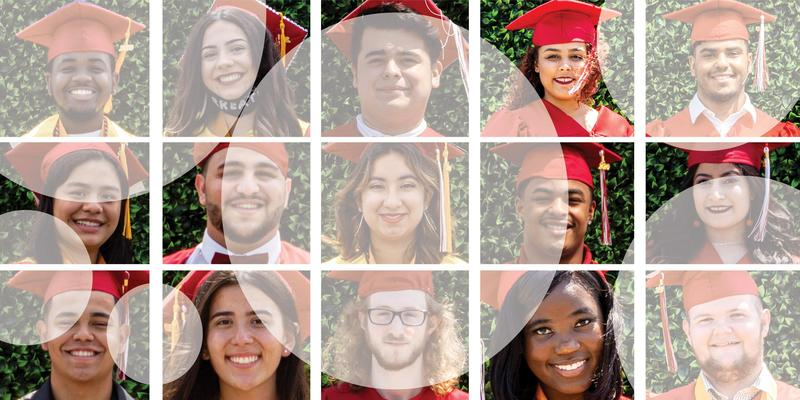 Collage of EHS graduates with gradient circles