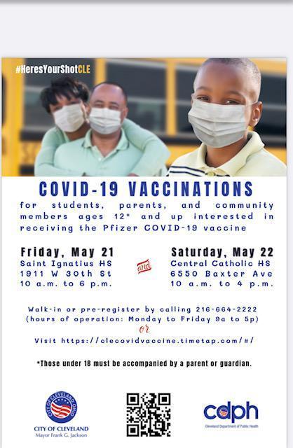 Covid-19 vaccination flyer.