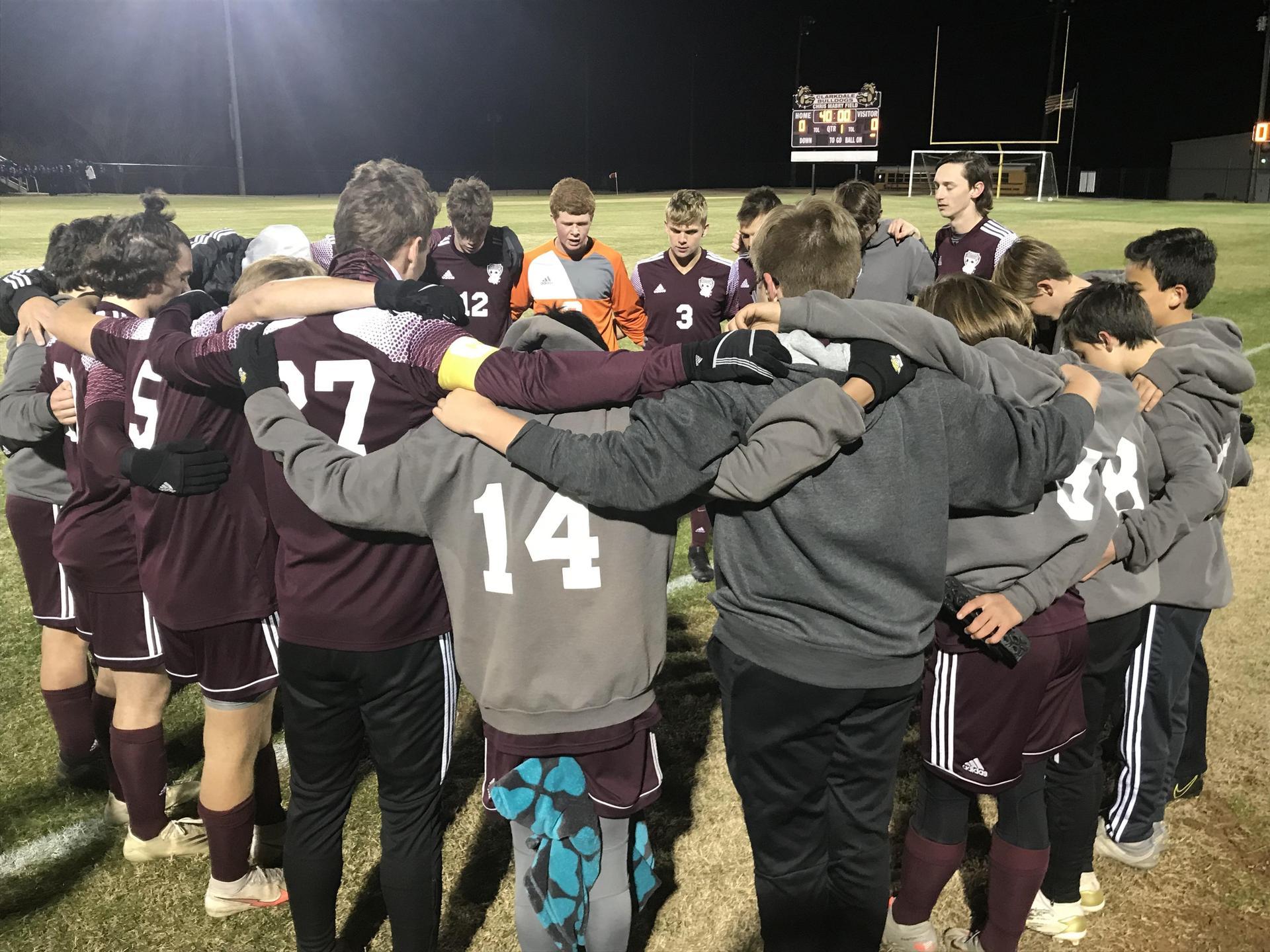CHS Boys' Soccer Team Pre-Game Prayer