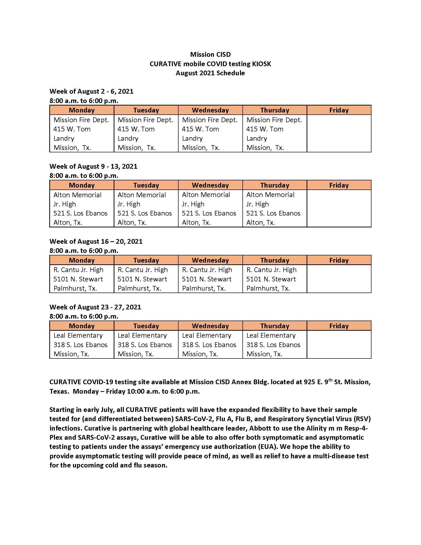 COVID Test Schedule