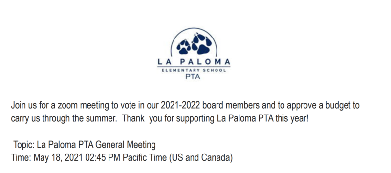 PTA General Meeting   Tuesday, May 18 at 02:45 PM Featured Photo