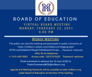 Board meeting 2/22/21