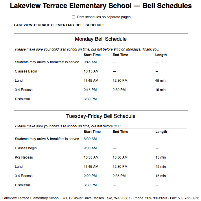 Lakeview Terrace Bell Schedule (Text version available on Lakeview website)