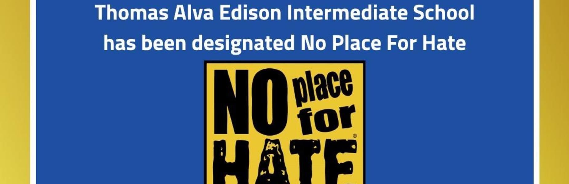 Photo of No Place for Hate certificate