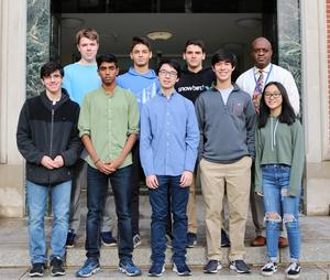 Eight Westfield High School students recently achieved the highest score possible on SAT and ACT standardized tests.  Students pictured here with principal Dr. Derrick Nelson.