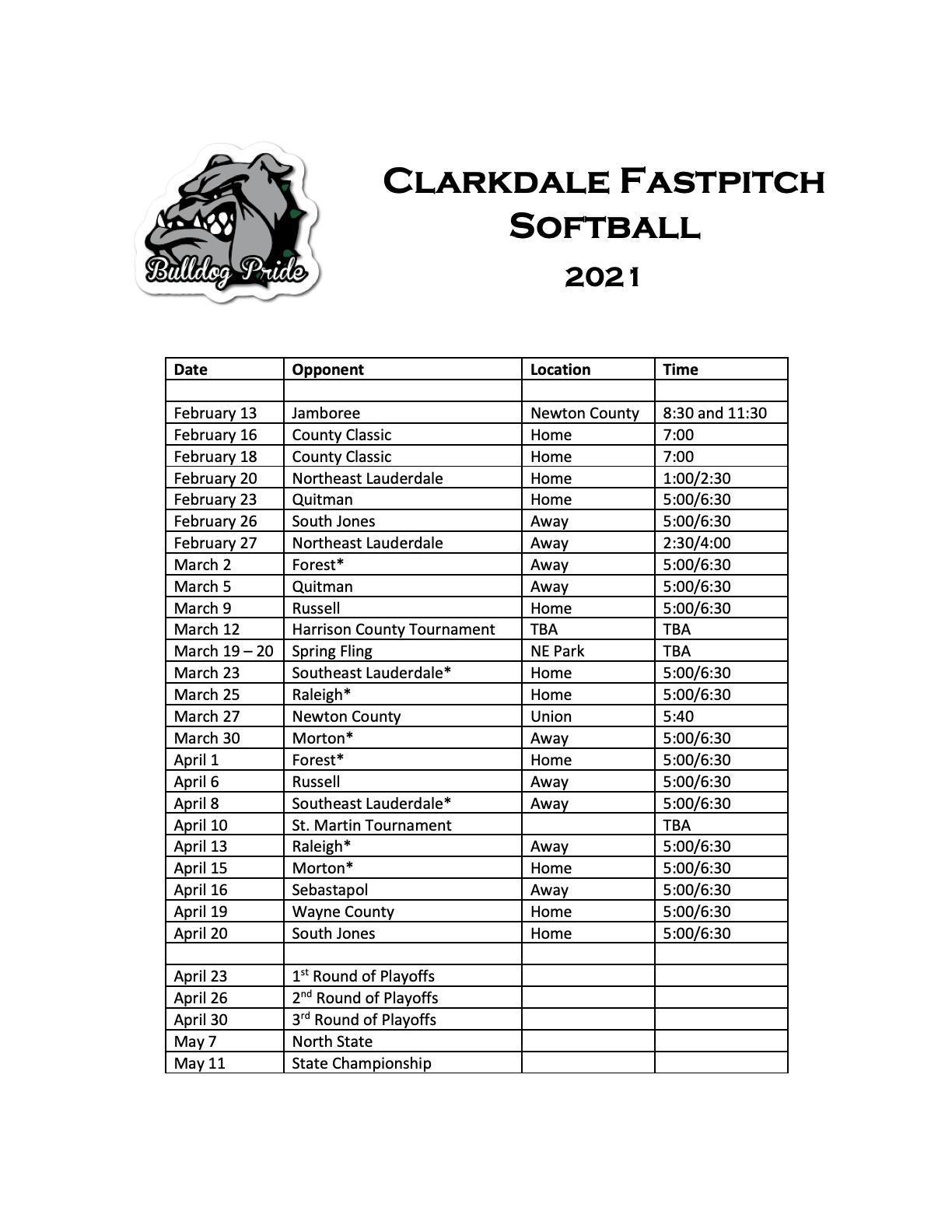 CHS 2021 Softball Schedule
