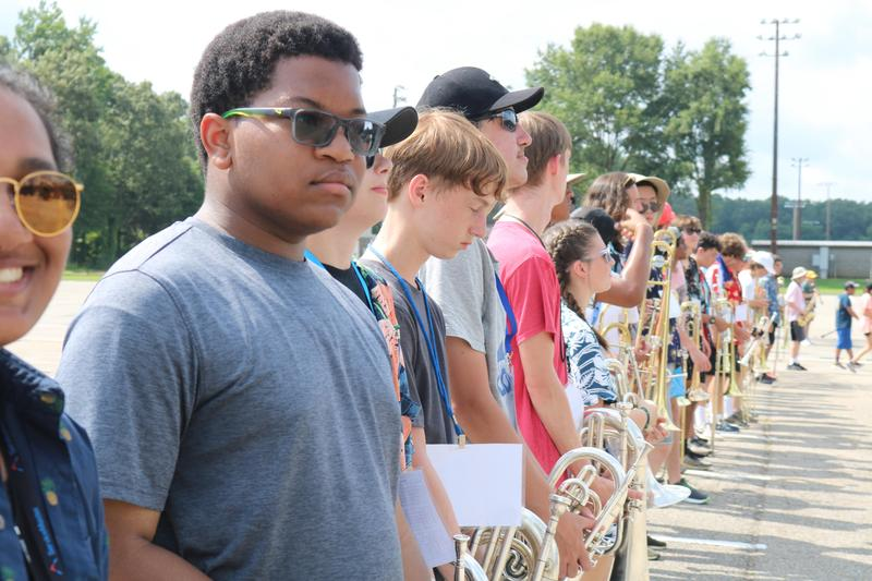 Houston band students line up for after school rehearsal