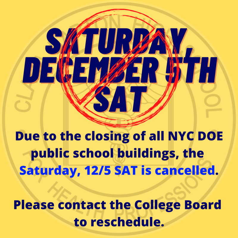 Poster with a red crossed out circle over Saturday, December 5th SAT