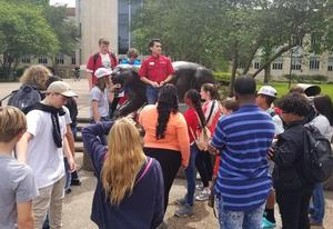 LJH students listen to tour guide at U of H