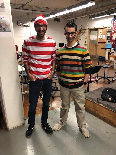 WHS senior dresses as broadcast journalism teacher who dresses as Waldo.