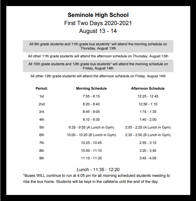 shs staggered schedule