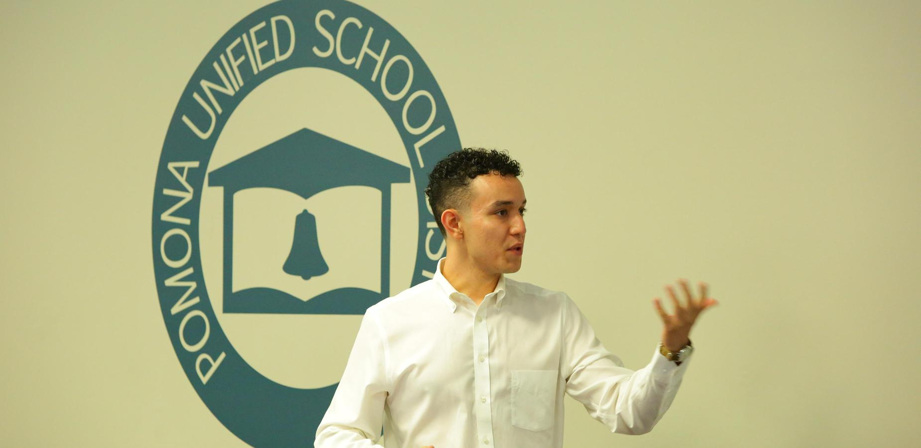 Welcome new teachers! Juan Ledesma is a @vejarPUSD and @GareyHighPUSD Alumn who just graduated from UCLA!!! today he joins our #PUSD Family. #orientation #teacherorientation #newteachers #pusd #pomonaunified #proud2bepusd — with Juan Humberto Ledesma Mendoza.