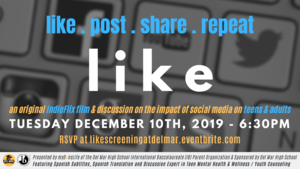 image of december 10th LIKE documentary event flyer in english