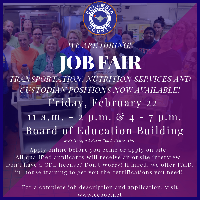 flyer for non-certified job fair at the CCBOE office Friday, February 22, 2019 from 11 a.m. - 2 p.m. and 4 - 7 p.m. Hiring bus drivers, custodians and nutrition services positions