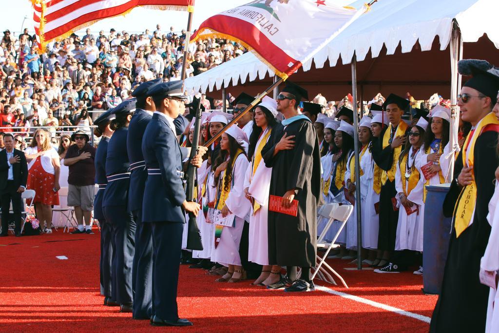 Class of 2019 graduation flag salute