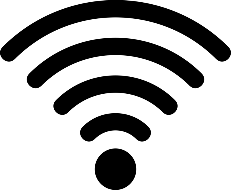 A wi-fi symbol. A dot with four curved lines about it.