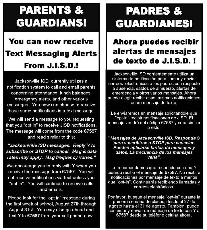 Text message notifications for parents in english and spanish