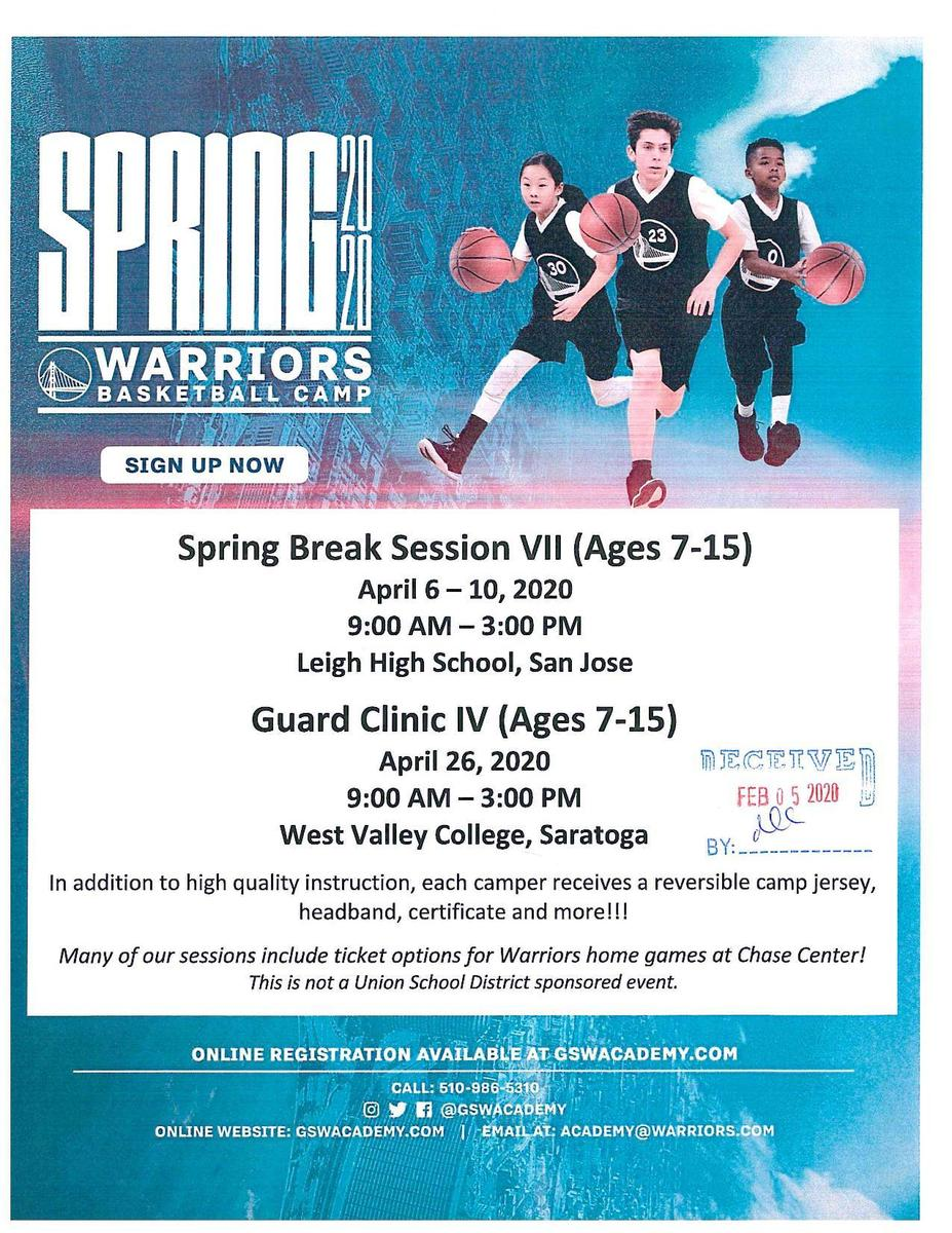 Warriors Basketball Camp Spring 2020