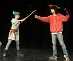 TKMS students portraying Peter Pan and Captain Hook act out a scene for the upcoming performances.